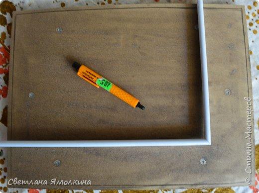 И снова, здравствуйте! Сегодня я с террой из природных материалов, размер работы 30х40 см. В работе использовала: рамку для фотографий; песок; клей ПВА; шпатлевку; сухой природный материал (веточки, палочки, траву, скорлупки от фисташек, тыквенные семечки, шишки); краску (спрей) голубую и серую; белый акриловый грунт (можно заменить на акриловую краску); матовый акриловый лак (спрей). фото 3