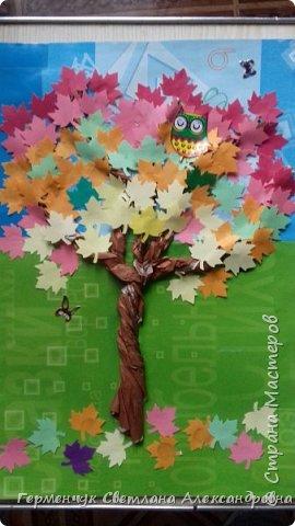 """В этом году очень теплая осень ,и листья не торопятся желтеть . Мы с ребятами 3""""А """" класса  украсили  деревья разноцветными листочками .Получилась осенняя аллея  из кленов. фото 2"""