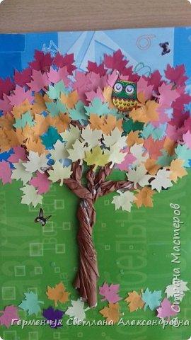 """В этом году очень теплая осень ,и листья не торопятся желтеть . Мы с ребятами 3""""А """" класса  украсили  деревья разноцветными листочками .Получилась осенняя аллея  из кленов. фото 21"""