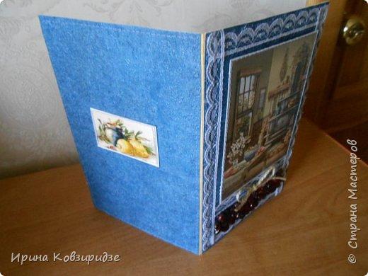 Открытка№1 Эти открытки на синей бумаге. Украшение- кружево, мелкая красная фасоль, вскрытая акриловым лаком. Всё прострочено. фото 2