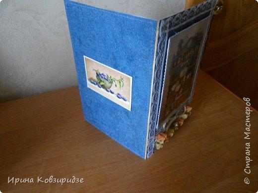 Открытка№1 Эти открытки на синей бумаге. Украшение- кружево, мелкая красная фасоль, вскрытая акриловым лаком. Всё прострочено. фото 9