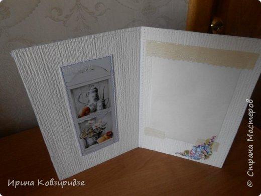 Открытка№1 Эти открытки на синей бумаге. Украшение- кружево, мелкая красная фасоль, вскрытая акриловым лаком. Всё прострочено. фото 10