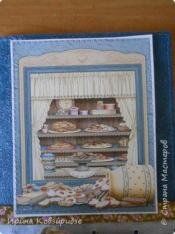 Открытка№1 Эти открытки на синей бумаге. Украшение- кружево, мелкая красная фасоль, вскрытая акриловым лаком. Всё прострочено. фото 12