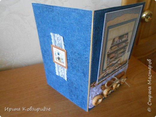 Открытка№1 Эти открытки на синей бумаге. Украшение- кружево, мелкая красная фасоль, вскрытая акриловым лаком. Всё прострочено. фото 13