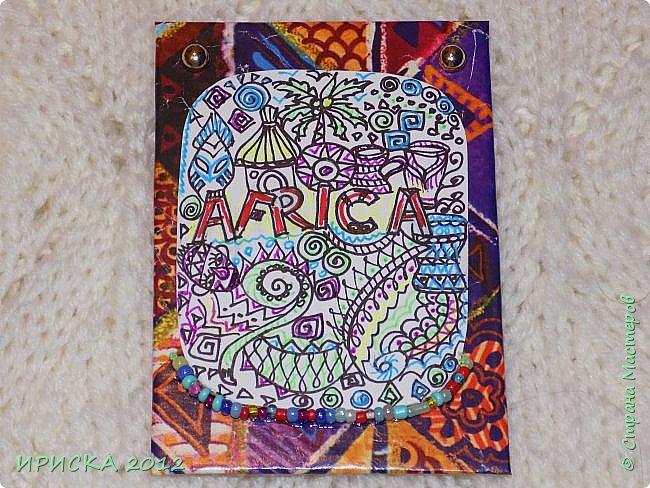 Привет всем гостям моей странички!!!  Тема Африка в задумке была давно,  но все не знала как оформить картинки. Вчера случайно наткнулась на упаковочную бумагу и все сложилось, - на одном дыхании нарисовала все картинки и оформила АТС-ки. Первой к выбору приглашаю Элайджу.  фото 12