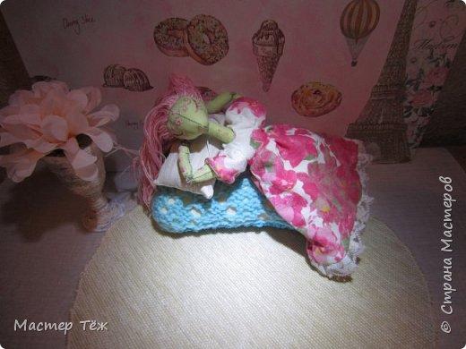 Сегодня я расскажу вам об этой очаровательной девочке, текстильной кукле http://stranamasterov.ru/node/1110906 Феи, они знаете ли такие — им платья подавай, мягкие подушки, и вкусную еду! Мне ещё повезло, что Розовый Ирис оказалась не самой капризной — тихонько ждала, когда я всё закончу. Но думаю дело тут в том, что она боооольшой любитель поспать. Ну, сами поглядите: фото 2