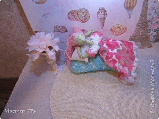 Сегодня я расскажу вам об этой очаровательной девочке, текстильной кукле http://stranamasterov.ru/node/1110906 Феи, они знаете ли такие — им платья подавай, мягкие подушки, и вкусную еду! Мне ещё повезло, что Розовый Ирис оказалась не самой капризной — тихонько ждала, когда я всё закончу. Но думаю дело тут в том, что она боооольшой любитель поспать. Ну, сами поглядите: фото 3