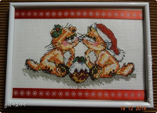 Вышиваю разных котиков. Если парочки, то обязательно одного рыжим вышиваю.  Парочка сидит на заборе и смотрит на луну. Оформлена в картон и украшена 3D - наклейками. фото 3
