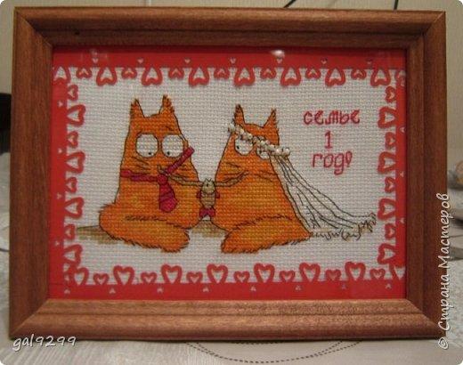 Вышиваю разных котиков. Если парочки, то обязательно одного рыжим вышиваю.  Парочка сидит на заборе и смотрит на луну. Оформлена в картон и украшена 3D - наклейками. фото 6