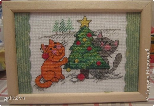 Вышиваю разных котиков. Если парочки, то обязательно одного рыжим вышиваю.  Парочка сидит на заборе и смотрит на луну. Оформлена в картон и украшена 3D - наклейками. фото 10
