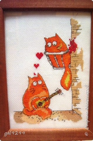 Вышиваю разных котиков. Если парочки, то обязательно одного рыжим вышиваю.  Парочка сидит на заборе и смотрит на луну. Оформлена в картон и украшена 3D - наклейками. фото 11