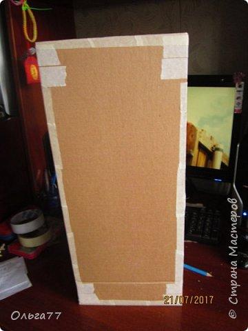 Всем добрый день. Продолжаю подготовку к юбилею своей подруги)))). Хочу поделиться с вами маленьким мастер классом,по созданию коробки для альбомов. Все свои коробочки я делаю из обычного упаковочного картона,клея ПВА и малярного скотча.Вот так выглядит первая часть упаковки. Непосредственно в ней будут лежать фотоальбомы... фото 5