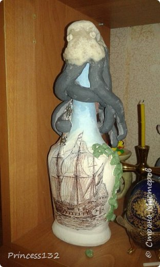 Декупаж бутылки в морском стиле фото 3