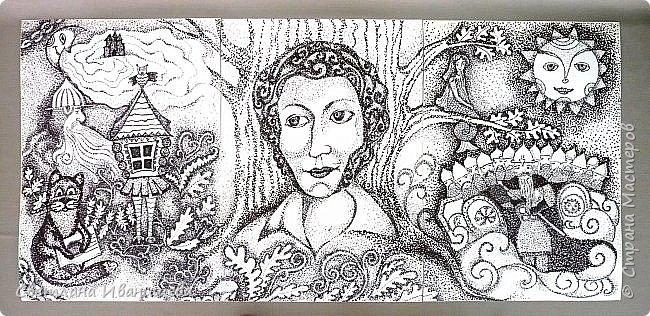 Триптих по сказкам Александра Сергеевича Пушкина. Автор работы Устинова Виктория. Работа состоит из трех рисунков формата А -3, выполнена  черными маркерами в точечной технике. фото 1