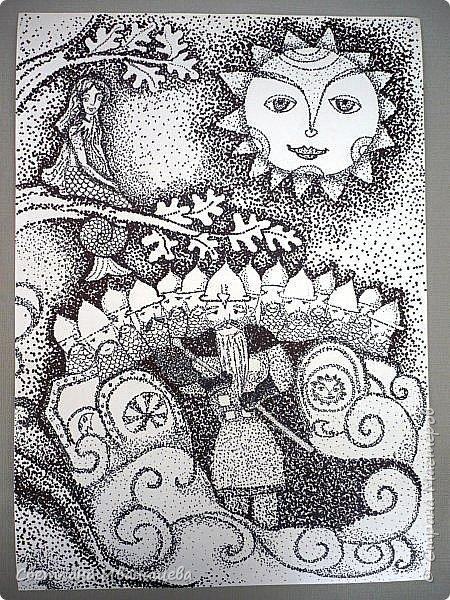 Триптих по сказкам Александра Сергеевича Пушкина. Автор работы Устинова Виктория. Работа состоит из трех рисунков формата А -3, выполнена  черными маркерами в точечной технике. фото 7