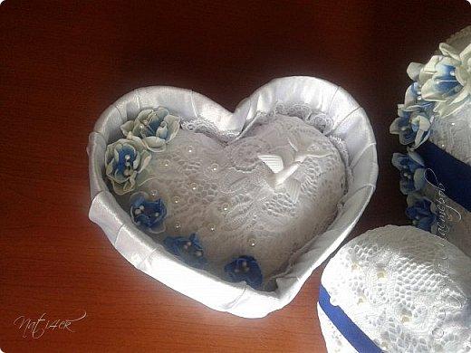 Всем доброго дня, вечера а может и ночи. Сегодня я со свадебным набором в синем цвете, который сделала в подарок дочери моей подруги. фото 4