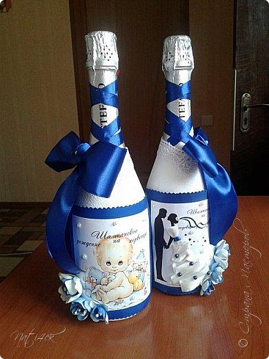 Всем доброго дня, вечера а может и ночи. Сегодня я со свадебным набором в синем цвете, который сделала в подарок дочери моей подруги. фото 6
