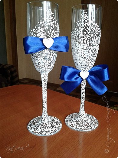 Всем доброго дня, вечера а может и ночи. Сегодня я со свадебным набором в синем цвете, который сделала в подарок дочери моей подруги. фото 9
