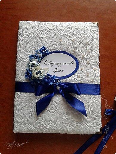 Всем доброго дня, вечера а может и ночи. Сегодня я со свадебным набором в синем цвете, который сделала в подарок дочери моей подруги. фото 7