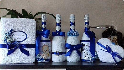 Всем доброго дня, вечера а может и ночи. Сегодня я со свадебным набором в синем цвете, который сделала в подарок дочери моей подруги. фото 1