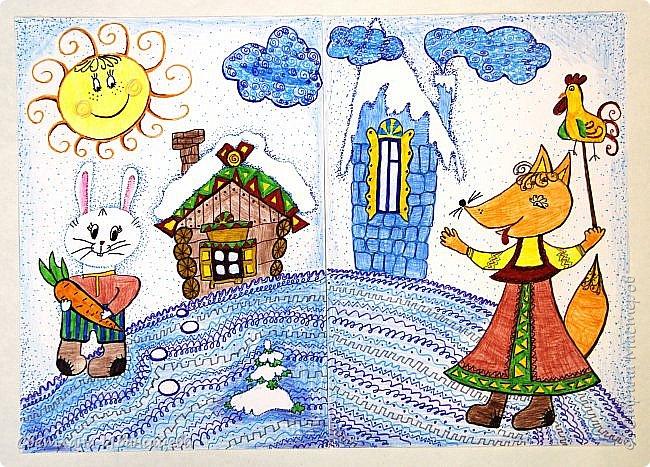 Диптих в технике декоративной графики выполнили Рогозина Мария и Старцева Анастасия 9 лет. фото 1