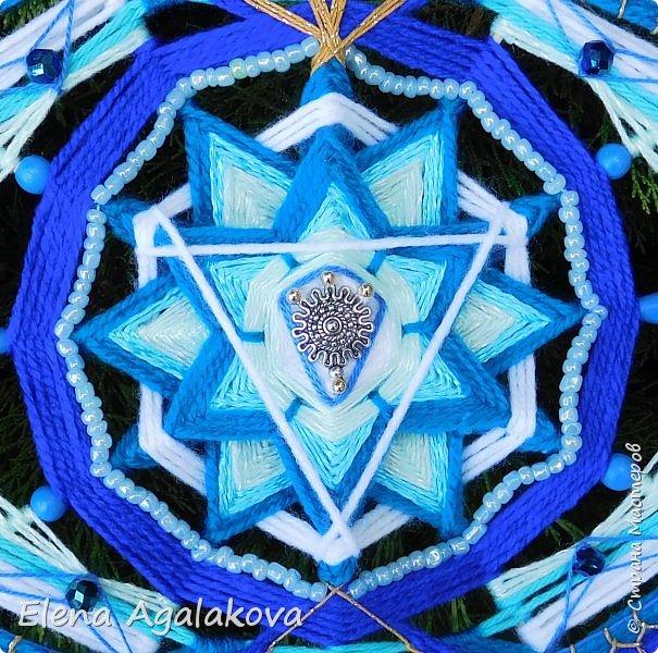 Продолжаю плести мандалы-чакры. Аджна чакра - третий глаз человека. Да я уже дошла до этой волшебной чакры! Она находится посередине лба в точке между глазами, чуть выше линии глаз. Цвета: синий, индиго.  Символически изображается в виде лотоса окаймленного с каждой стороны двумя большими лепестками , в центре круг с вписанным в него треугольником. фото 4