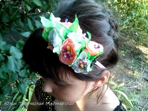 Ободок для начинающих с цветами из лент 5 см Мастер-класс канзаши