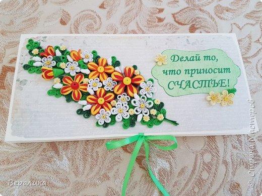 Эту шоколадницу сделала в подарок своему дамскому мастеру и просто хорошей женщине! Цветочки сделаны из полосок шириной 2мм. фото 1