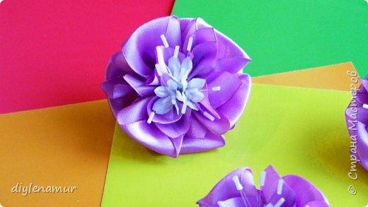 Цветы канзаши из атласной ленты 2,5см. Делаем набор украшений для волос