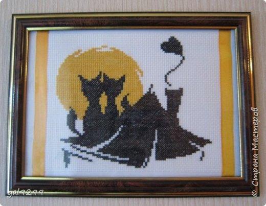 Вышиваю разных котиков. Если парочки, то обязательно одного рыжим вышиваю.  Парочка сидит на заборе и смотрит на луну. Оформлена в картон и украшена 3D - наклейками. фото 13
