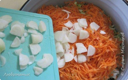 """Здравствуйте мои дорогие! Всех очень-очень рада видеть на своей страничке!!! Сегодня хочу с вами поделиться ещё одним рецептом - салат """"Золотая осень"""".  Рецепт очень удачный и получается очень вкусно, рекомендую! Зимой так приятно кушать с любыми вторыми блюдами, либо использовать как закуску (салат)  Продукты: капуста -2.200 кг лук - 600 г морковь - 800 г перец болгарский - 800 г сахар  - 1 столовая ложка соль - 3 столовые ложки подсолнечное масло 450 мл 9 % уксусная кислота - 400 мл  фото 10"""