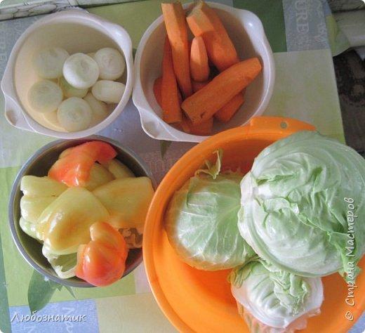 """Здравствуйте мои дорогие! Всех очень-очень рада видеть на своей страничке!!! Сегодня хочу с вами поделиться ещё одним рецептом - салат """"Золотая осень"""".  Рецепт очень удачный и получается очень вкусно, рекомендую! Зимой так приятно кушать с любыми вторыми блюдами, либо использовать как закуску (салат)  Продукты: капуста -2.200 кг лук - 600 г морковь - 800 г перец болгарский - 800 г сахар  - 1 столовая ложка соль - 3 столовые ложки подсолнечное масло 450 мл 9 % уксусная кислота - 400 мл  фото 2"""