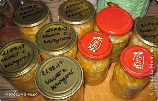 """Здравствуйте мои дорогие! Всех очень-очень рада видеть на своей страничке!!! Сегодня хочу с вами поделиться ещё одним рецептом - салат """"Золотая осень"""".  Рецепт очень удачный и получается очень вкусно, рекомендую! Зимой так приятно кушать с любыми вторыми блюдами, либо использовать как закуску (салат)  Продукты: капуста -2.200 кг лук - 600 г морковь - 800 г перец болгарский - 800 г сахар  - 1 столовая ложка соль - 3 столовые ложки подсолнечное масло 450 мл 9 % уксусная кислота - 400 мл  фото 33"""