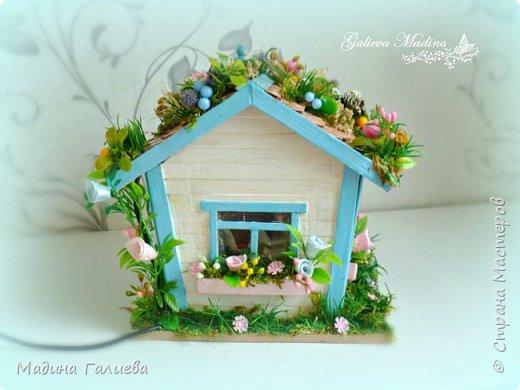 Всем привет! Спешу представить свою новую работу домик в миниатюре!!! Домик послужит не только украшением интерьера и оригинальным подарком, он также функциональный и светится как небольшой ночник. Все детальки выполнены вручную.  фото 3