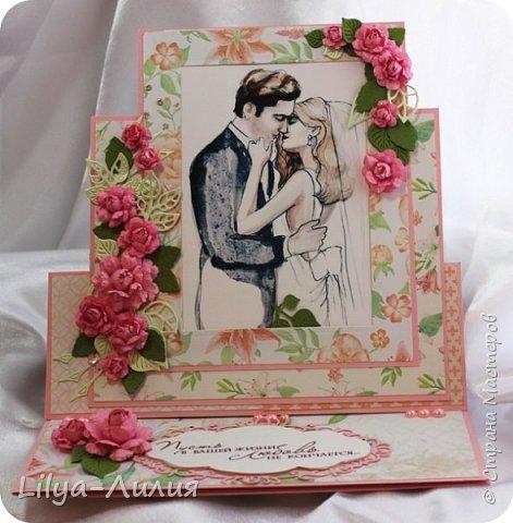 Открытка - стойка - фоторамка на свадьбу.  Картинка с молодыми вынимается и можно вставить фото со свадьбы.  фото 8