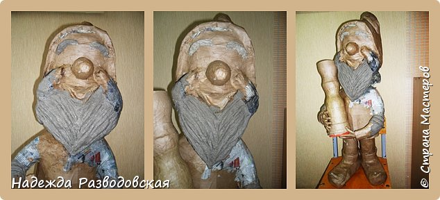 Работая над  своим очередным гномом из папье-маше, я не забыла просьбу   жителей «Страны мастеров» поделиться  опытом создания скульптур в данной технике, поэтому весь процесс пришлось подробно фотографировать. Впервые при моделировании гнома я использовала картон от упаковок от сока. Постараюсь последовательно  и обстоятельно изложить, как шел творческий процесс над созданием гнома из папье-маше и что у меня получалось.      2.Материалы, которые я использовала при создании скульптуры гнома с вазой: Четыре пластиковые 1,5-литровые бутылки  Две пластиковые 5-литровые емкости для питьевой воды Три упаковки для яиц   Пшеничная мука для заваривания клейстера Клей ПВА Газетная и крафтовая (оберточная серая) бумага Туалетная бумага Упаковки из-под сока Проволока Скотч Фольга  Шпаклевка по дереву Краски для окрашивания гнома (художественные масляные краски, белая эмалевая краска, пигменты «Color» для добавления в белую краску) Из инструментов очень пригодились «горячий» клеевой пистолет и степлер. фото 75