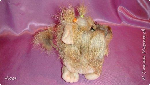"""Кукла выполнена в технике: """"Скульптурный текстиль"""". Материалы: капрон, синтепон, мех и хорошее настроение. Размеры:14см-высота , 8см- длина (14см с хвостиком). фото 2"""
