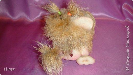 """Кукла выполнена в технике: """"Скульптурный текстиль"""". Материалы: капрон, синтепон, мех и хорошее настроение. Размеры:14см-высота , 8см- длина (14см с хвостиком). фото 3"""