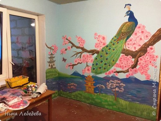 Недавно оформила стены в будущей  комнате девочки в японо-китайском стиле...вот, что вышло: фото 1