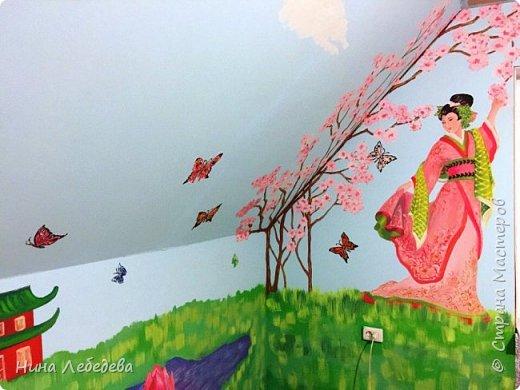Недавно оформила стены в будущей  комнате девочки в японо-китайском стиле...вот, что вышло: фото 4