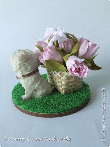 Сувенир на Год Собаки-маленькая собачка (всего 5 см) породы вест-хайленд-уайт-терьер. Настоящий подарок! Да еще с корзиной цветов, которые были сделаны из фоамирана. Вся миниатюра разместилась на круглой подставке, декорированной искусственной травой (имитация газона). Собачка будет радовать каждого круглый год!  фото 4