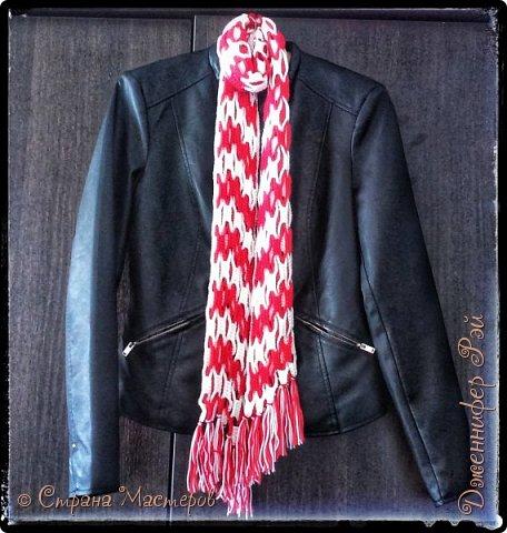 Осеннего утра! Осень уже во всю наступает на пятки бабьему лету, и поэтому настало время курток и тёплых вязаных шарфов.  Вязала я сию вещичку по МК Амины (http://stranamasterov.ru/user/128652) фото 1