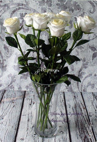 """Розы """"PROUD"""". Цветы и листья из фоамирана, стебель из холодного фарфора. фото 2"""