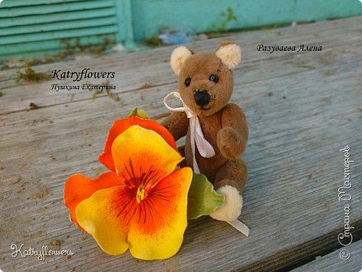 """Вот такой творческий тандем получился у меня и у моей подруги - http://stranamasterov.ru/user/297186. Её потрясающий Мишка и мое колечко- """"Анютина глазка"""". фото 1"""