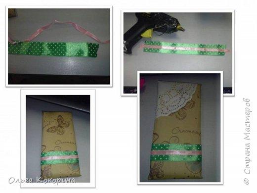 Оформляем шоколад к празднику. Необходимы: плитка любого шоколада, бумага для оформления, гофрированная бумага, конфеты, атласные ленточки, бусины и т.п. фото 14