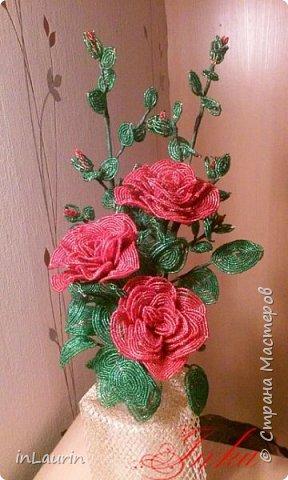 Здравствуйте  жители и гости Страны Мастеров! Бисерные цветы были давней хотелкой и вот благодаря Катерине появился этот букет. Мои первые шаги в  освоении бисера, фото 1