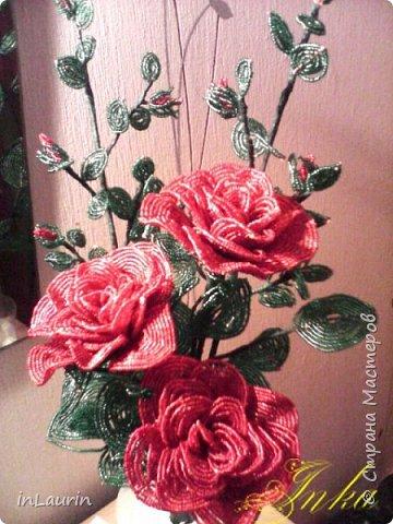 Здравствуйте  жители и гости Страны Мастеров! Бисерные цветы были давней хотелкой и вот благодаря Катерине появился этот букет. Мои первые шаги в  освоении бисера, фото 2