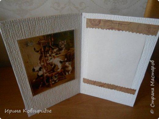 """""""Кошачья серия"""" Три открытки. Прострочены. Картинки- распечатка на лазерном принтере. Кружева. фото 4"""