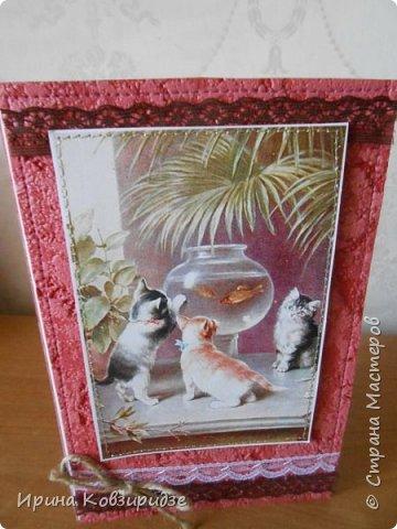 """""""Кошачья серия"""" Три открытки. Прострочены. Картинки- распечатка на лазерном принтере. Кружева. фото 13"""