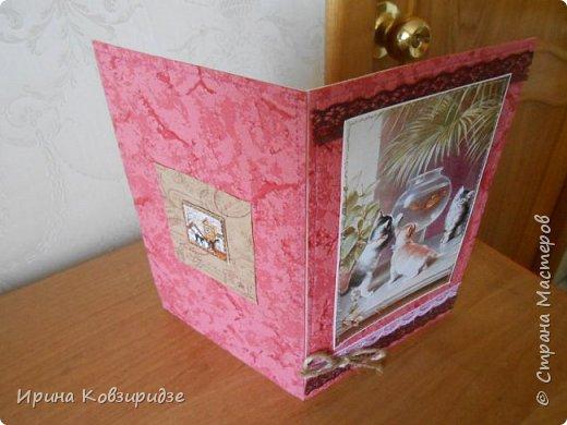 """""""Кошачья серия"""" Три открытки. Прострочены. Картинки- распечатка на лазерном принтере. Кружева. фото 14"""